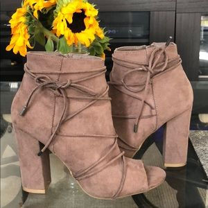 Faux suede peeptoe booties with ties